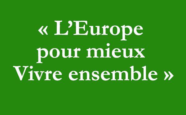 """Image de la section Objectifs statutaires de JPM avec son slogan """"L'Europe pour mieux vivre ensemble""""."""